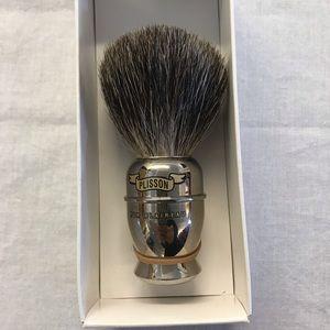 Plisson Shaving Brush, Badger, silver tone handle
